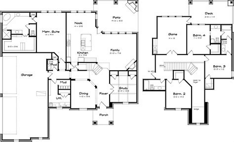 two storey family house plans with four bedrooms