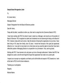 Board Of Directors Resignation Letter by 6 Board Resignation Letters Free Sle Exle Format