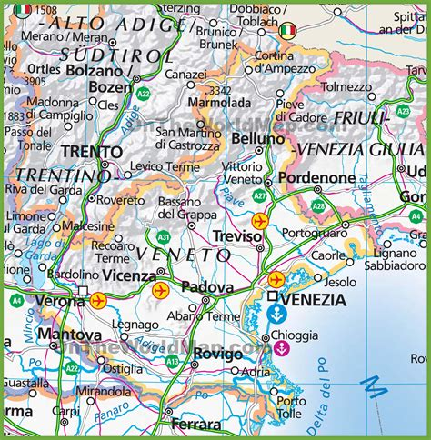 map of large map of veneto