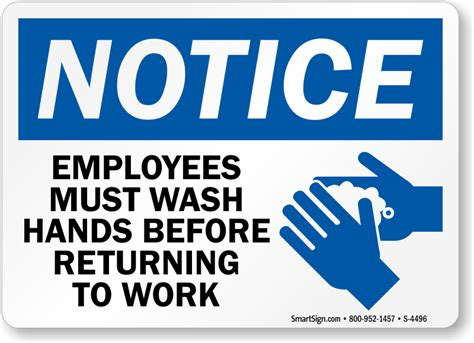 4496 White List by Employees Must Wash Returning To Work Sign With