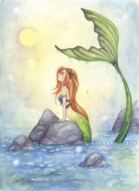 mermaid art 5x7 watercolor fine art print mermaid