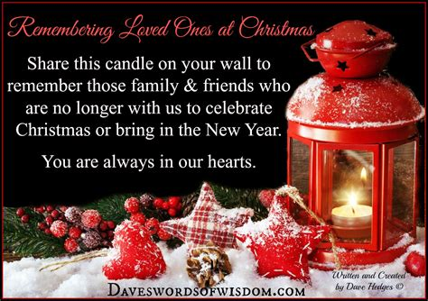 daveswordsofwisdomcom remembering loved   christmas