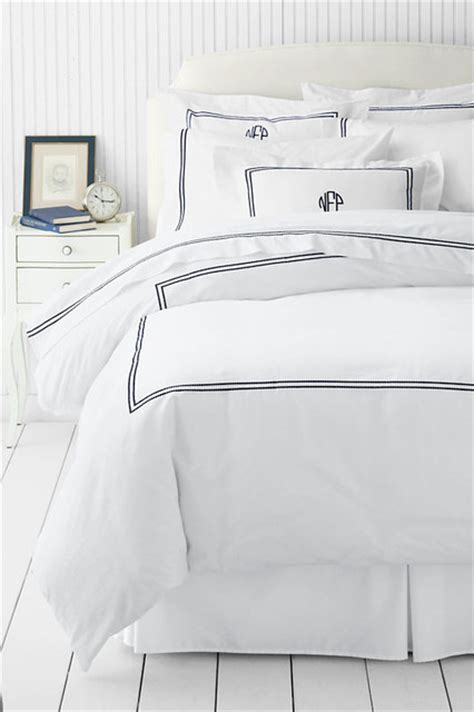 lands end bedding tailored hotel embroidered dot duvet cover traditional