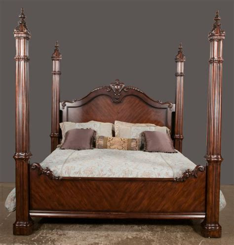bed with posts king size mahogany four poster bed with cluster column posts
