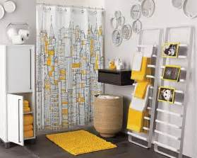 Yellow try decorating your bathroom with some bright accessories