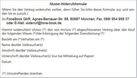 Muster Formular Widerruf fonebook gbr muster widerrufsformular