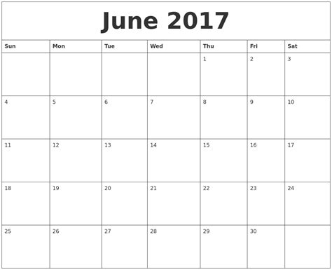 large print calendar template june 2017 large printable calendar