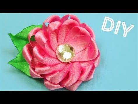 natali doma tutorial брошь цветок из лент как сделать ribbon flower brooch