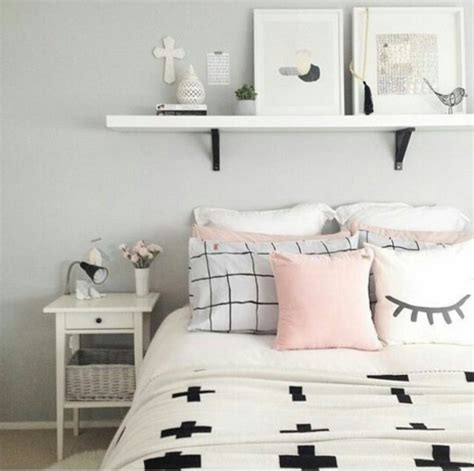 light pink and black bedroom home accessory nightstand pillow white black