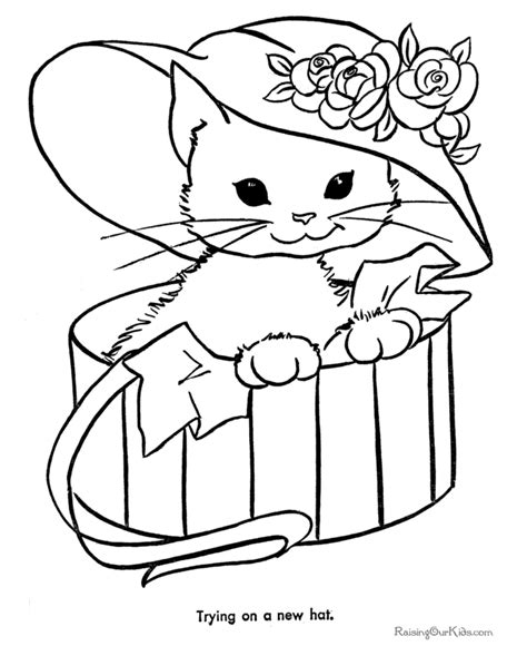 Animal Coloring Pages Kitten | printable animal coloring pages cat