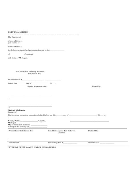 Sle Quit Claim Deed Michigan Free Download Quit Claim Deed Template Michigan