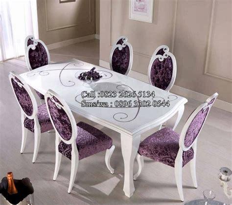 Jual Busa Kursi Makan set kursi makan cantik warna violet meubel ukir jepara