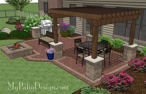 Small Patio Design Backyard Brick Patio Design With 12 X 12 Pergola Grill Station And Pit Plan No