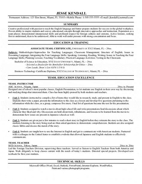 Tesol Instructor Resume Instructor Resume Template