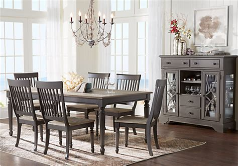 Gray Dining Room Furniture Blue Grove Gray 5 Pc Dining Room Rectangle Traditional
