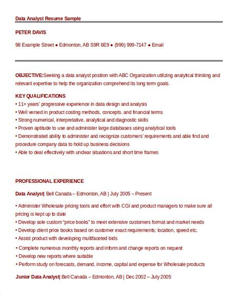 Resume Template Data Analyst by 9 Data Analyst Resume Exles Pdf Doc Free