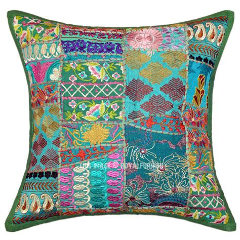 throw pillows on green 18x18 unique patchwork decorative throw pillow