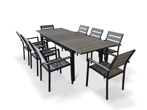 9 Piece Eco Wood Extendable Outdoor Patio Dining Set