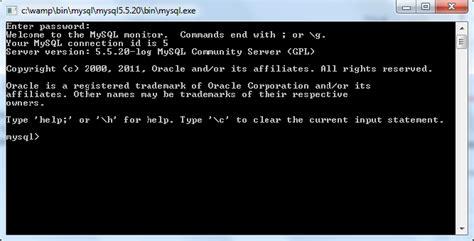 mysql console import mysql comando create i