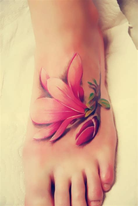 realistic flower tattoo designs 78 best foot tattoos images on ideas