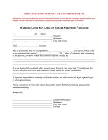 Contract Warning Letter Warning Letter For Lease Or Rental Agreement In Word And Pdf Formats