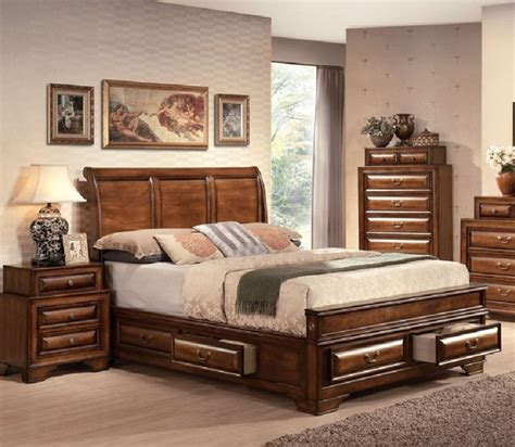 california king bed sets acme furniture konance brown cherry sleigh 5 piece