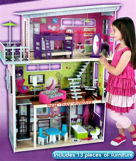 biggest barbie doll house big wooden doll house set large kit with furniture for
