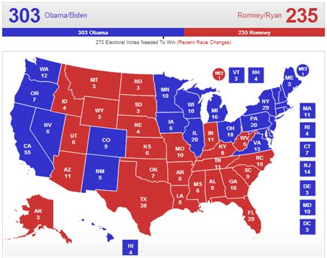 united states political party map 2012 2012 electoral map predictions 11 6 election day