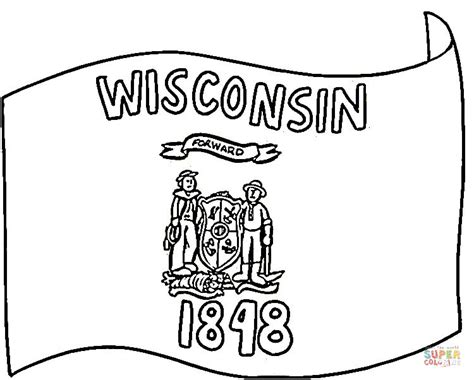 wisconsin flag of 1848 coloring page free printable
