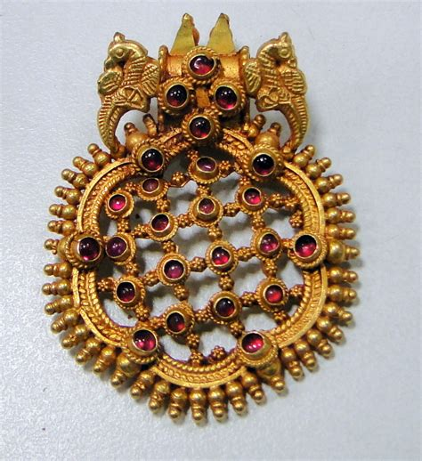 Handmade Indian Jewellery - 22k gold peacock pendant necklace handmade indian