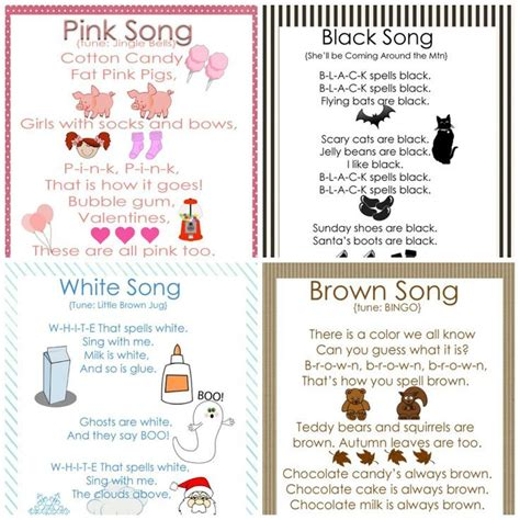 the color pink song my gems preschool color songs free printables