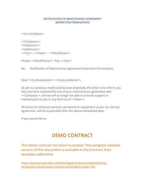 cancellation letter for maintenance contract maintenance contract termination letter