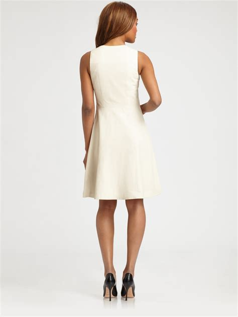 leather swing dress lyst theory etiara leather swing dress in white