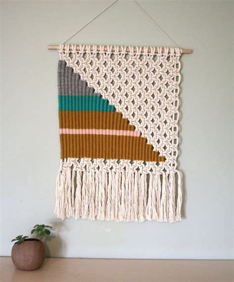 Macrame Weave - woven macrame wall hanging large triangle weaving wall