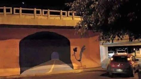 street artist painted  road runner tunnel   wall