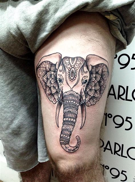 tattoo elephant geometric geometric elephant thigh tattoo tatts piercings