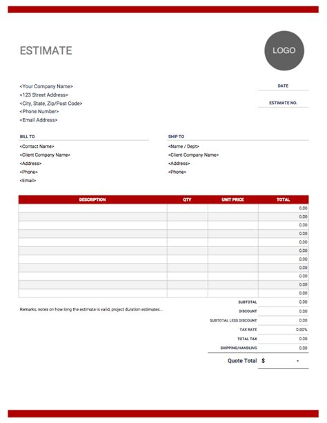 Estimate Template Download And Use For Free Customer Estimate Templates