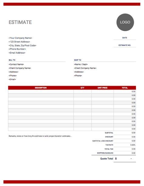 estimates templates estimate template and use for free