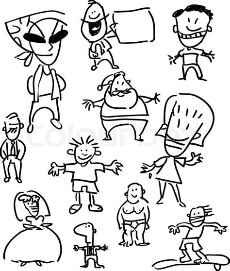Graphic Design Jobs From Home Usa by Set Of People Simple Cartoon Drawings Stock Vector