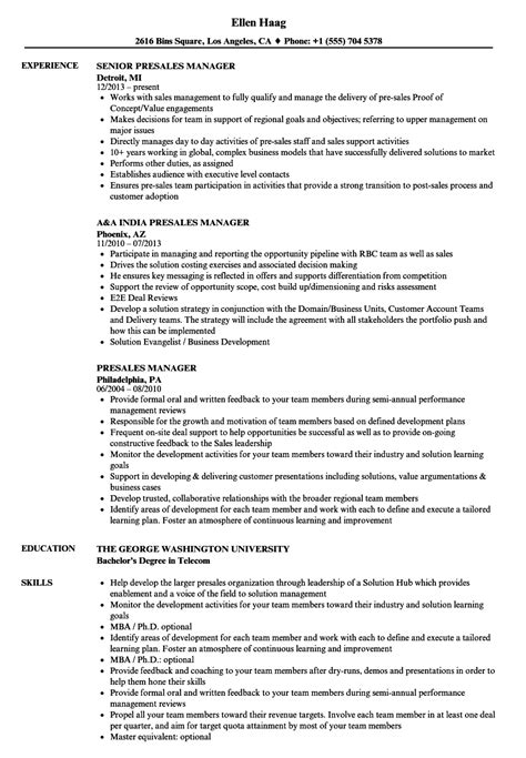 stunning it pre sales manager resume photos resume ideas