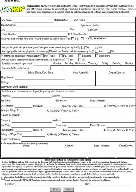 printable job application subway subway employment application download free premium