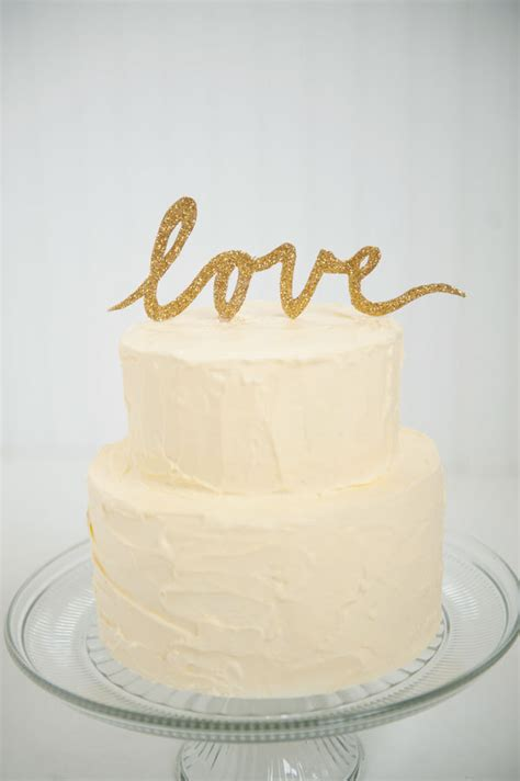gold wedding cake decorations gold glitter script wedding cake topper