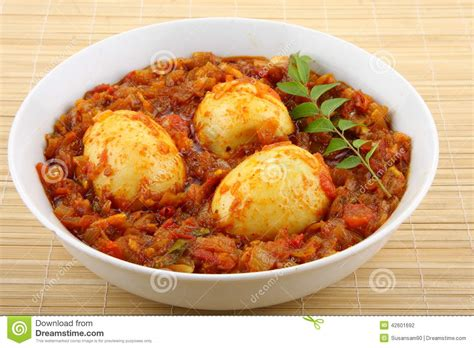 cuisine cor馥 du sud r 244 ti d oeufs de cuisine indienne du sud photo stock