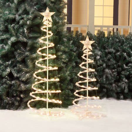 walmart spiral christmas tree time lighted spiral tree sculptures clear lights 2 pack walmart