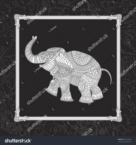 vector illustration white elephant silhouette grey stock