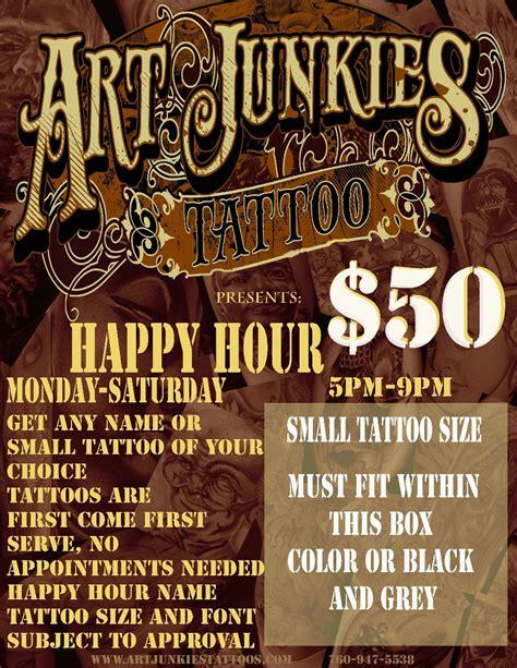 tattoo junkee happy hour happy hour at art junkies art junkies tattoo studio