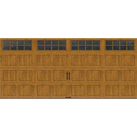 16 X 7 Insulated Garage Door by Ideal Door 174 16 Ft X 7 Ft Medium Oak Pnl Carriage