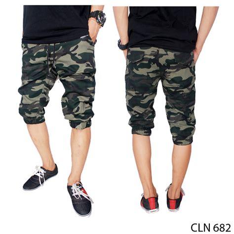 celana pendek jogger pria stretch loreng cln 682