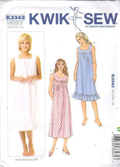 sewing pattern nightie kwik sew 3343 misses nightgown pattern scoop or square by