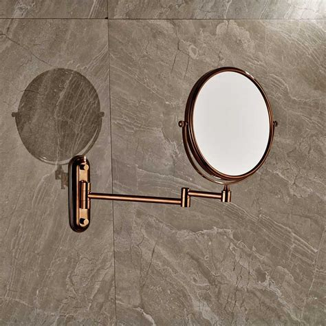 Rose Golden Make Up Magnifying Mirror Bathroom Wall Extending Magnifying Bathroom Mirror